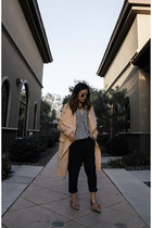 tan coat - navy pinstripe pants