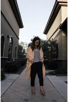 tan coat - navy pinstripe pants