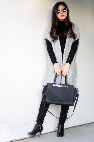 heather gray ann taylor cardigan - black turtleneck Zara sweater