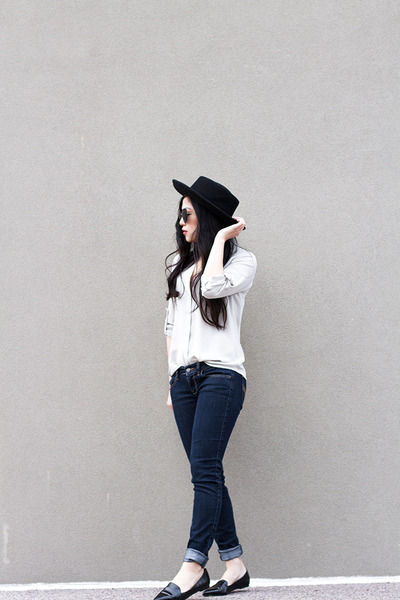 off white button up shirt - black pointed flats