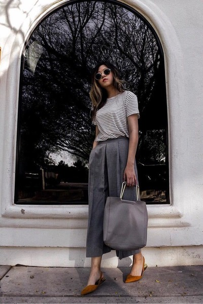 white striped t-shirt - heather gray culottes Zara pants