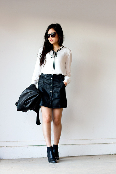 white neck tie windsor blouse - black faux leather skirt