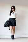 White-neck-tie-windsor-blouse-black-faux-leather-skirt