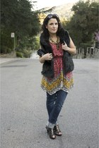black Chinese Laundry shoes - hot pink Forever 21 dress - navy Levis jeans - bla