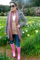 bubble gum Hunter boots - black Nordstroms coat - camel Nordstroms sweater - bub