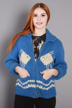 60s Blue Cowichan Sweater