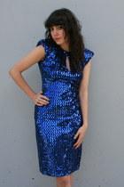 Blue-sequin-mini-vintage-dress