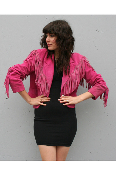 hot pink fringed suede vintage jacket