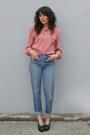 Light-pink-puff-sleeve-vintage-anne-klein-blouse