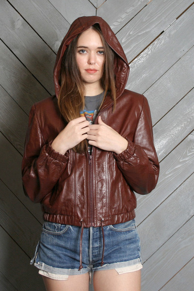 Vintage Hooded Leather Jacket by luckyvintageseattle | Chictopia
