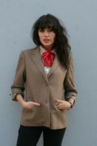 camel Vintage Halston blazer - black vintage jeans - ivory vintage blouse