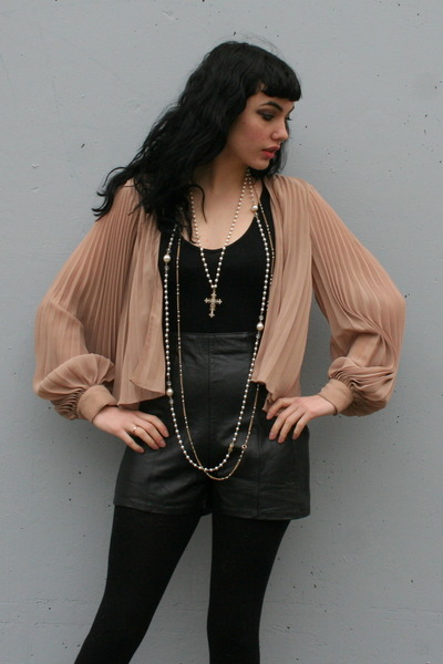nude sheer pleated vintage blouse