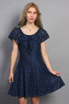 Vintage Navy Lace Mini Dress