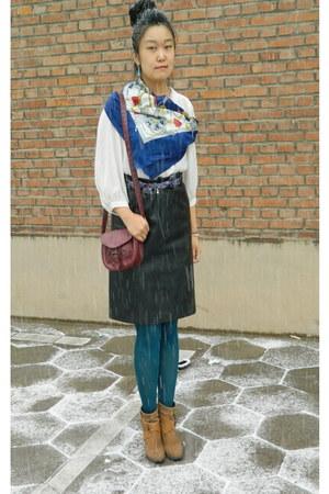 blue floral print random brand tie - bronze dfuse boots