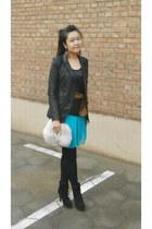black random brand boots - turquoise blue chiffon Lipsy dress