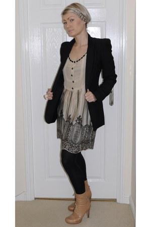 tan tan leather asos boots - beige silk numph dress - black asos blazer