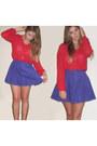 Red-forever-21-shirt-blue-forever-21-skirt