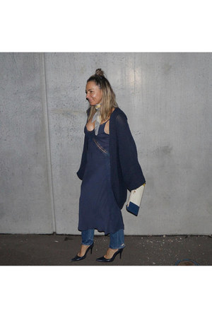 denim mother jeans - silk Suboo dress - leather Prada bag