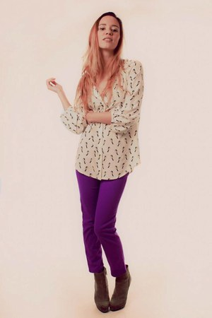 purple unknonw jeans - birdie Old Navy blouse