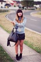heather gray Missguided jumper - black Sportsgirl boots - black chicabooti skirt