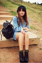 black Jeffrey Campbell boots - black Sportsgirl hat - light blue asos jacket