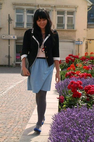 blue vintage shoes - black local brand blazer - beige Zara shirt