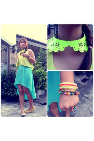 aquamarine mullet Forever 21 dress - yellow shoe box flats - Macys accessories