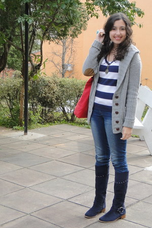 navy boots - navy striped Zara sweater - heather gray knitted Zara cardigan
