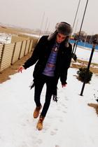 beige Levis boots - purple Iceberg sweater - black Tommy Hilfiger jacket - Rabbi