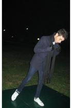 white Paul Smith shoes - blue Cheap Monday jeans - blue coat coat - black vintag