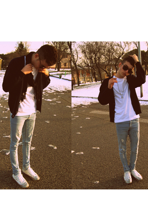white Dolce&Gabbana shoes - blue Cheap Monday jeans - blue my dad cardigan - bro
