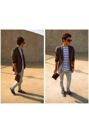 blue shoes - gray H&M jacket