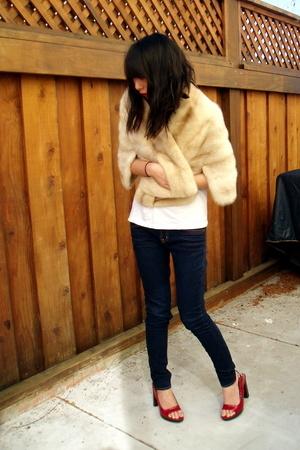 vintage - J Brand jeans - Miu Miu shoes - Hanes t-shirt