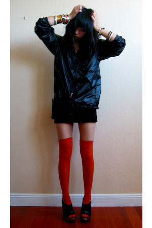 American Apparel jacket - Topshop skirt - Tabio socks - Herve Chaplier purse