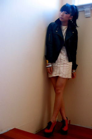 UO jacket - vintage dress - Chloe shoes
