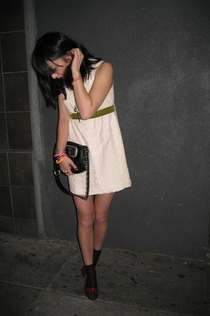 vintage dress - Miu Miu purse - Miu Miu shoes - Wolford socks