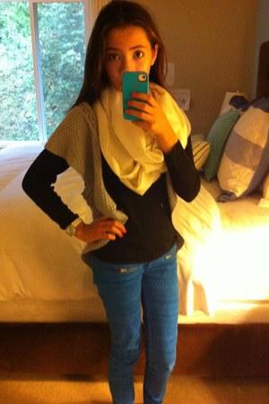 blue jeans - silver sweater - beige scarf