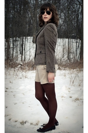 brown Brooks Brothers blazer - beige J Crew shorts - brown Target tights - brown