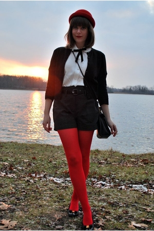 red H&M hat - black ferragamo shoes - red Target tights - gray Forever 21 shorts
