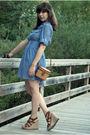 Blue-forever-21-dress-beige-vintage-purse-brown-mia-shoes