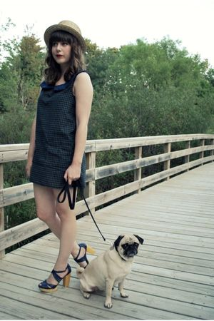 blue Dear Beatrice dress - beige Urban Outfitters hat - blue seychelles shoes