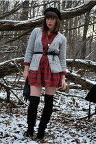 red vintage dress - silver Urban Outfitters cardigan - black American Apparel st
