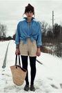 Blue-vintage-shirt-blue-ralph-lauren-t-shirt-beige-forever-21-shorts-blue-