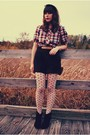 Black-modcloth-boots-black-vintage-shorts-red-dear-creatures-blouse-white-