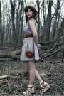 Purple-modcloth-dress-beige-urban-outfitters-hat-brown-forever-21-belt-bro