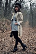 beige banana republic coat - silver Urban Outfitters dress - black seychelles bo