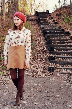 camel scallop Forever 21 skirt - dark brown bradley Jeffrey Campbell boots
