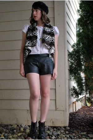 brown faux fur vest DIY vest - black black boots seychelles shoes