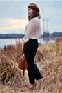 Dark-brown-satchel-h-m-bag-camel-beret-american-apparel-hat