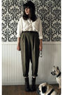White-vintage-blouse-brown-vintage-pants-brown-jeffrey-campbell-boots-brow
